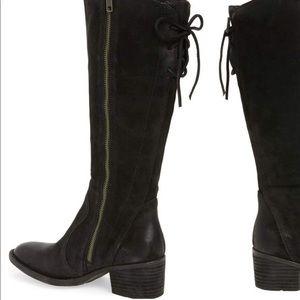 59de0052b28c Born Shoes - Born Felicia Black Suede knee high lace boots